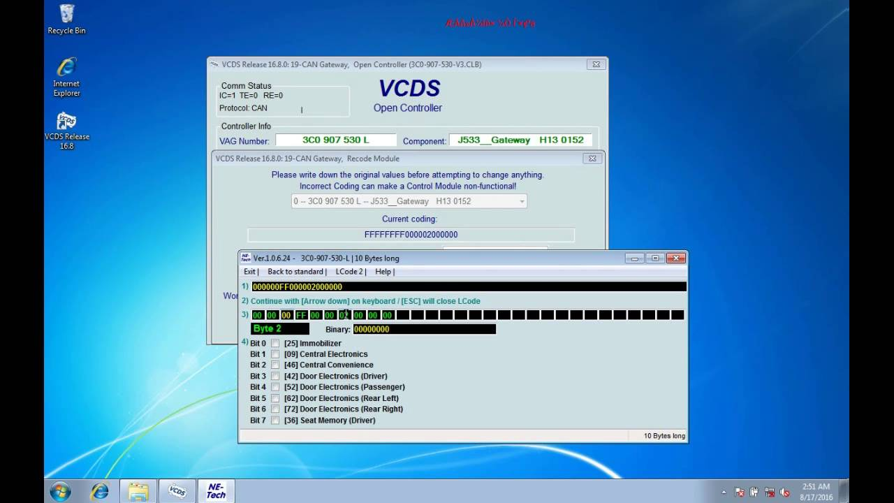 Vagcom 16 8 VCDS 16 8 Long coding function