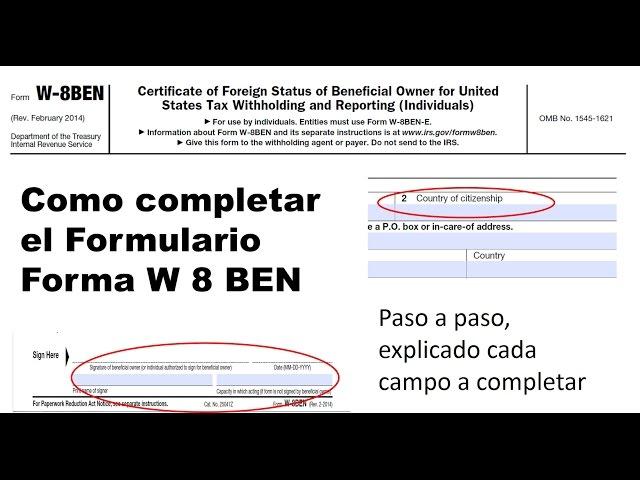Como completar el formulario forma W8BEN