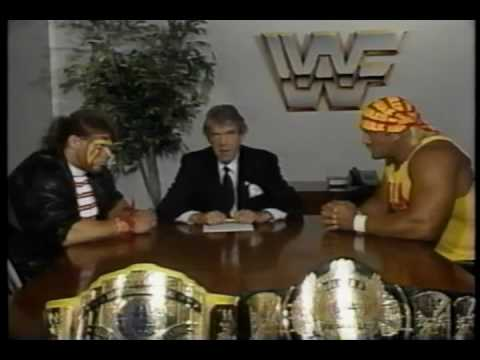 hogan/warrior wrestlemania 6 contract signing - YouTube