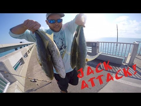 WICKED Yellow Jack! Fishing Long Key Bridge Florida Keys