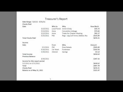 Treasurer Report Template Excel