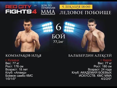 Бой №6 - И. Комзараков VS А. Балыбердин. Бойцовское шоу «RED CITY FIGHTS - 4»