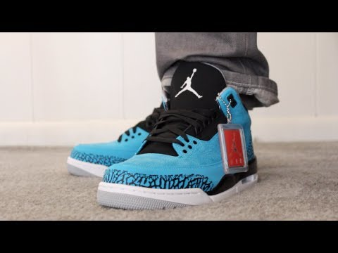 873b84cbfef160 ... discount retail released air jordan retro 3 powder blue on feet sneaker  review youtube 84e24 05b70