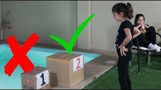 تحدي لا ترمي الصندوق الخاطىء بالماء ! !!DONT Push the Wrong MYSTERY BOX into the Water