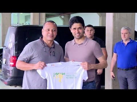 Presidente do PSG visita Neymar e instituto do craque