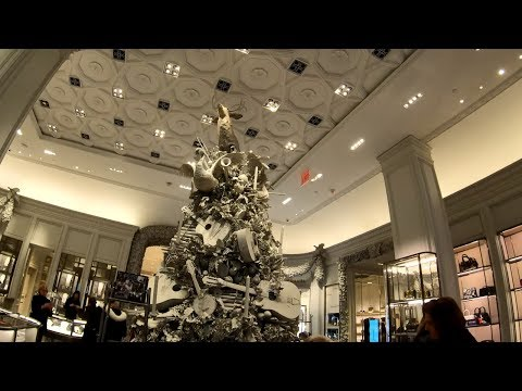 ⁴ᴷ⁶⁰ Walking Tour Of The Bergdorf Goodman Fifth Avenue Store, NYC During The Holidays 2018
