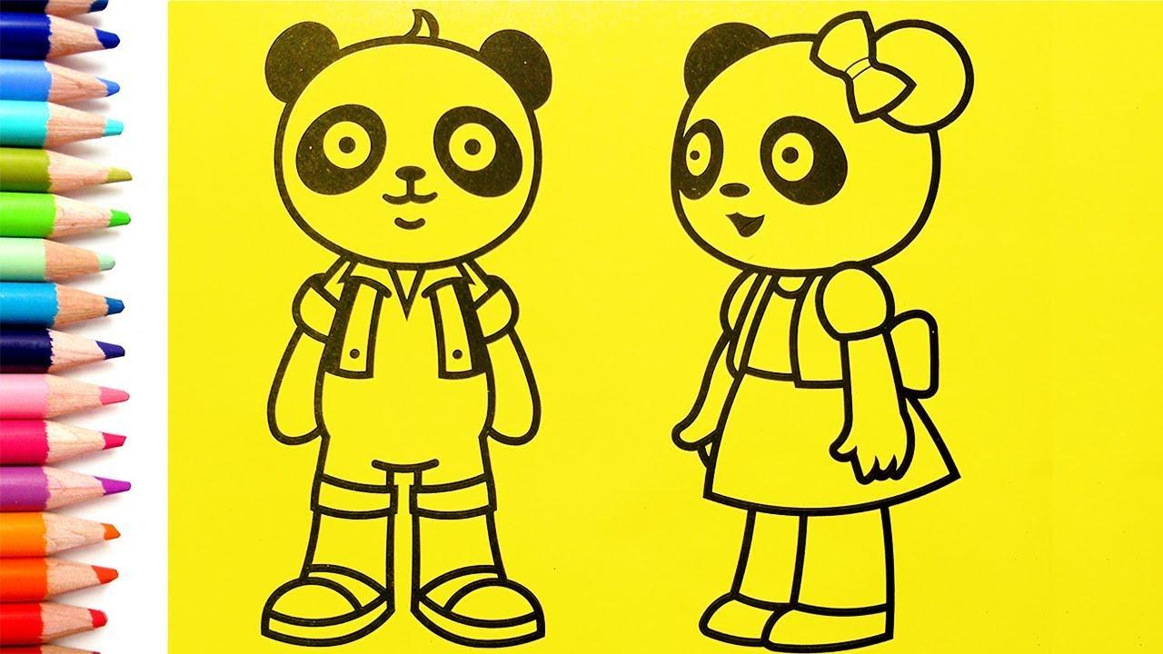 Как нарисовать панд / мультик раскраска панд для детей ...