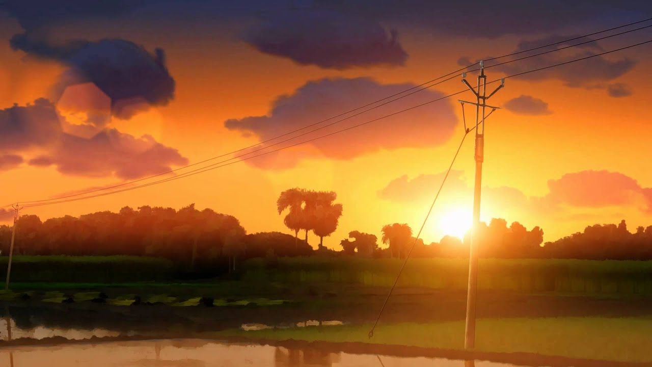 Sunset My First Anime Style Landscape Animation Youtube