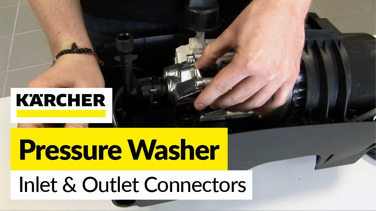 how to replace karcher inlet and outlet connectors on a karcher pressure washer [ 1280 x 720 Pixel ]