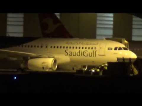First ever new A320 for SAUDI GULF AIR landing at Airbus Plant Hamburg