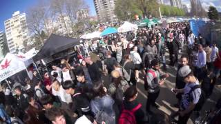 420 VANCOUVER, 2017.  4/20 Pot Party at Sunset Beach, Vancouver.  Clip Two of Two.