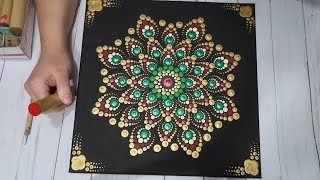 Classic Christmas Colors Step By Step Dot Mandala Tutorial | How To Paint Dot Mandalas Lydia May
