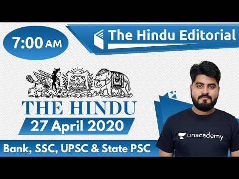 7:00 AM - The Hindu Editorial Analysis by Vishal Sir | 27 April 2020 | The Hindu Analysis