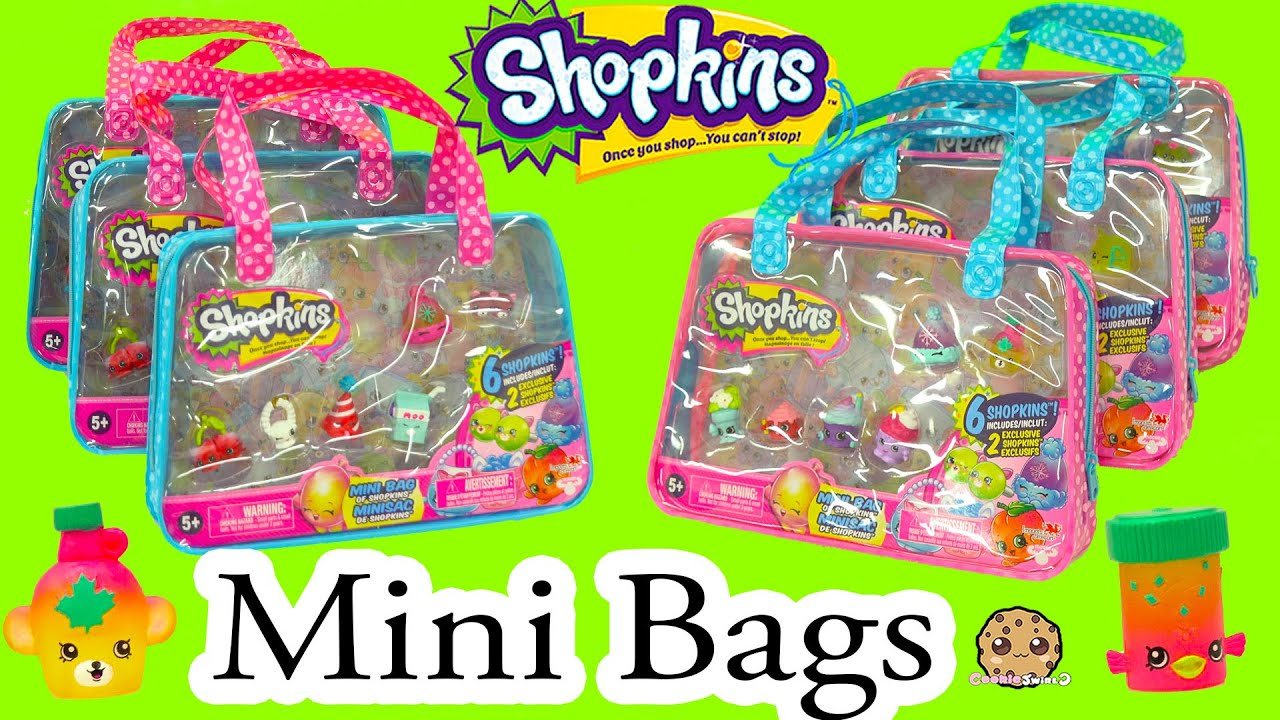 297ad5c790 6 Shopkins Season 4 Shopkins Mini Bag with 2 Exclusive All Six Sets -  Cookieswirlc Video