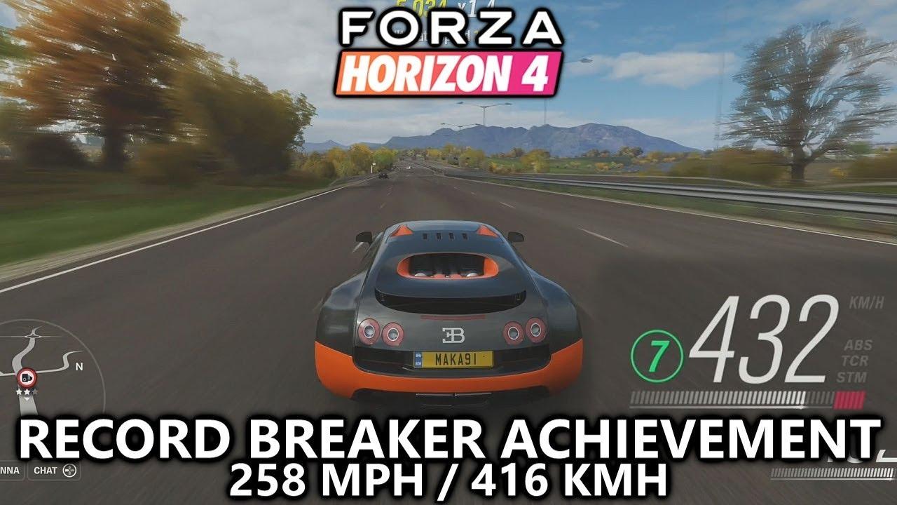 Forza Horizon 4 Record Breaker Achievement Guide 258mph Speed Trap In Bugatti Veyron Super Sport Youtube
