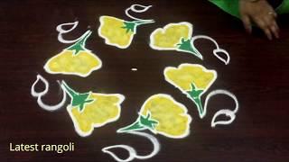 latest & beautiful lilly flower rangoli design with 5 dots || latest rangoli creative designs