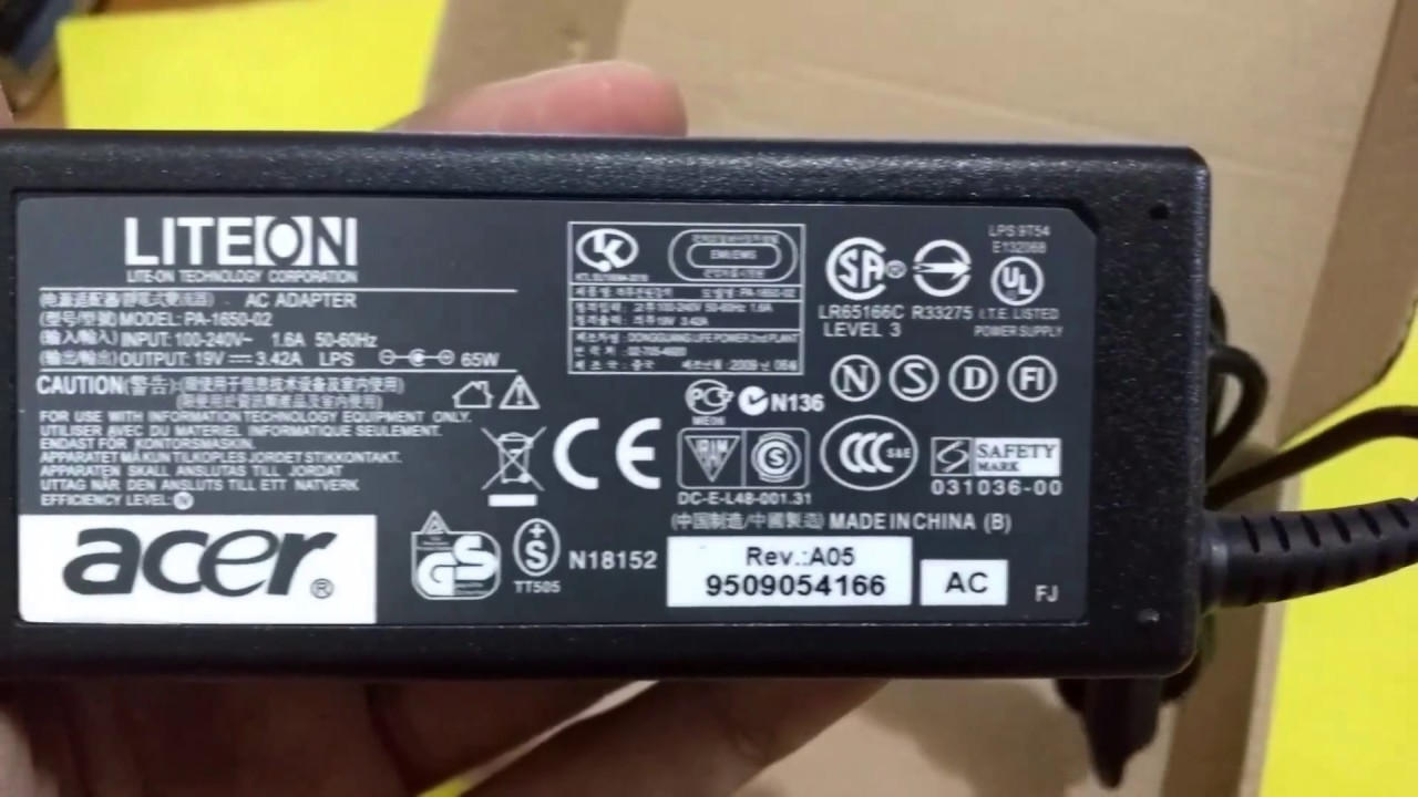 Adaptor Charger Laptop Acer 19v 3 42a Detail Look Youtube