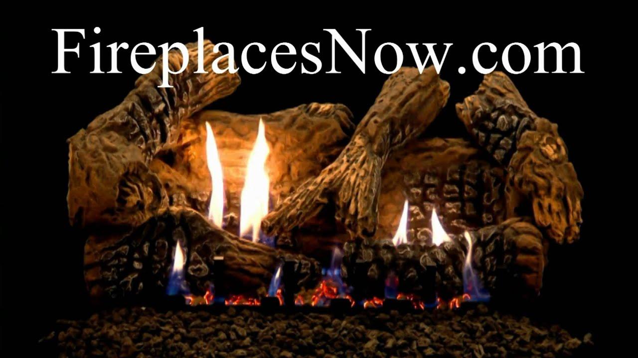 empire super charred oak ceramic fiber vented vent free gas log