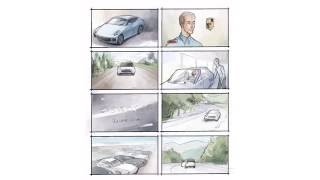 How do I draw a tv commercial storyboard for Porsche dealer