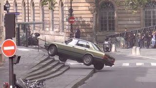 Tom Cruise performs a Car stunt on set of Mission Impossible 6 in Paris