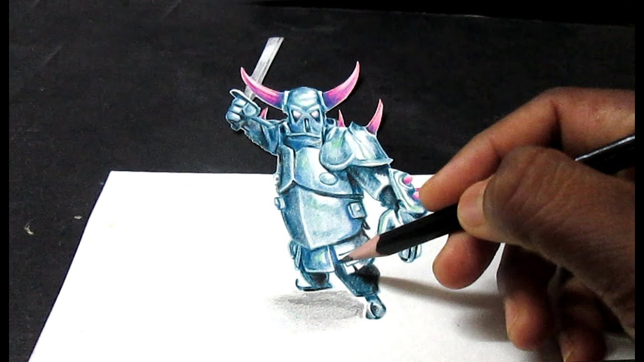 Clash Of Clans P E K K A 3d Art Drawing Illusion Youtube