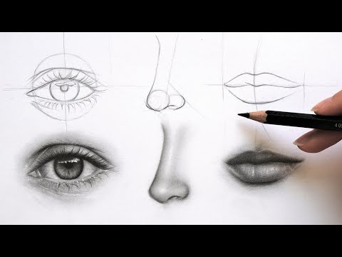 Get GREAT At Drawing FACE Parts (Eye, Nose And Lips) - Practice With Me!
