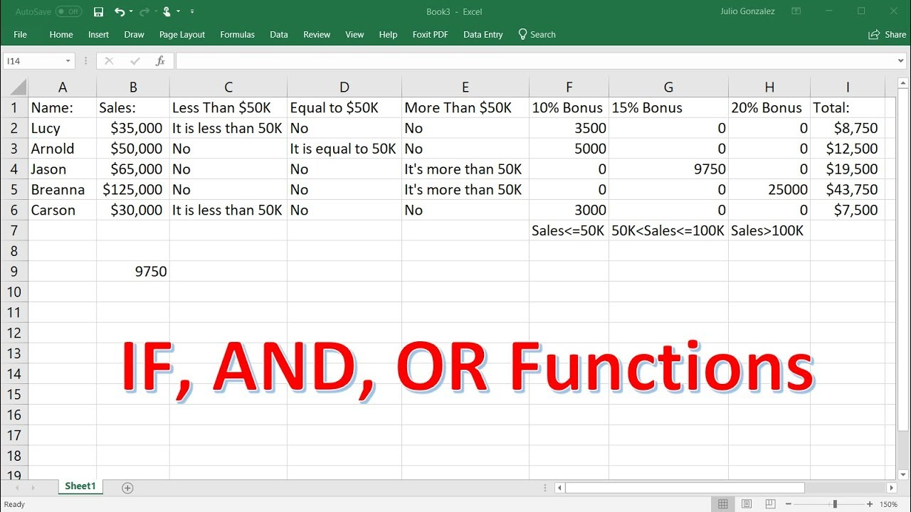 Excel If Formula - Nested If AND OR Functions