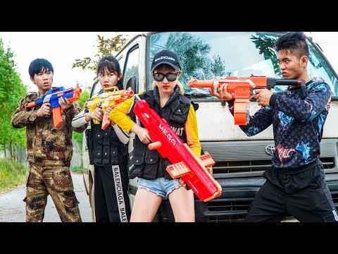 XGirl Nerf War: Top 8 Episode Of Cherry Nerf Film ! X Girl Nerf Guns Criminal Group