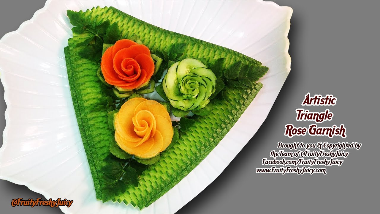 Artistic Vegetable Triangle Rose Garnish - Most Satisfying Video on Carrot, Cucumber, Radish Designs