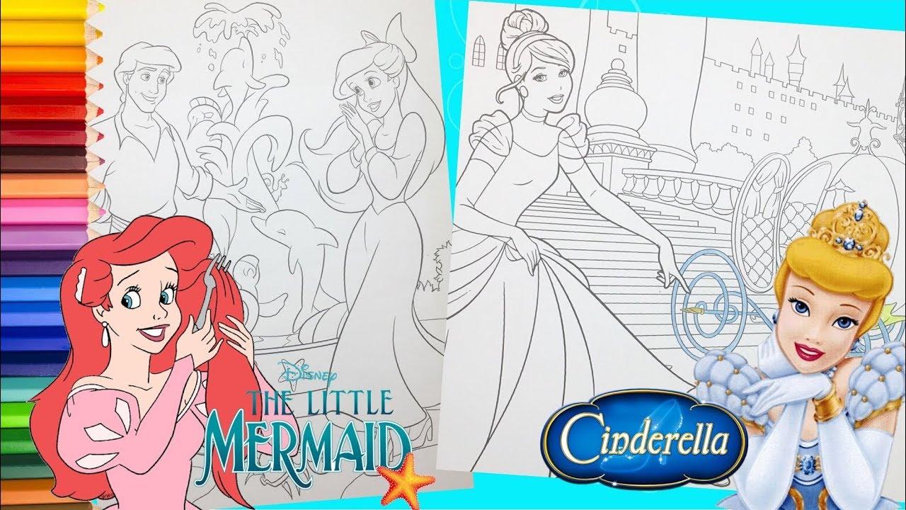 Disney Princess Ariel with Eric & Cinderella - Coloring ...