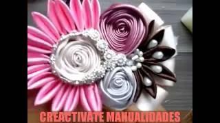 TOCADO PARA TIARA CON ROSAS DE LISTON Y FLORES KANZASHI/Diadema/valerina/creactivate manualidades