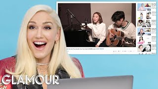 Download lagu Gwen Stefani Watches Fan Covers on YouTube | Glamour