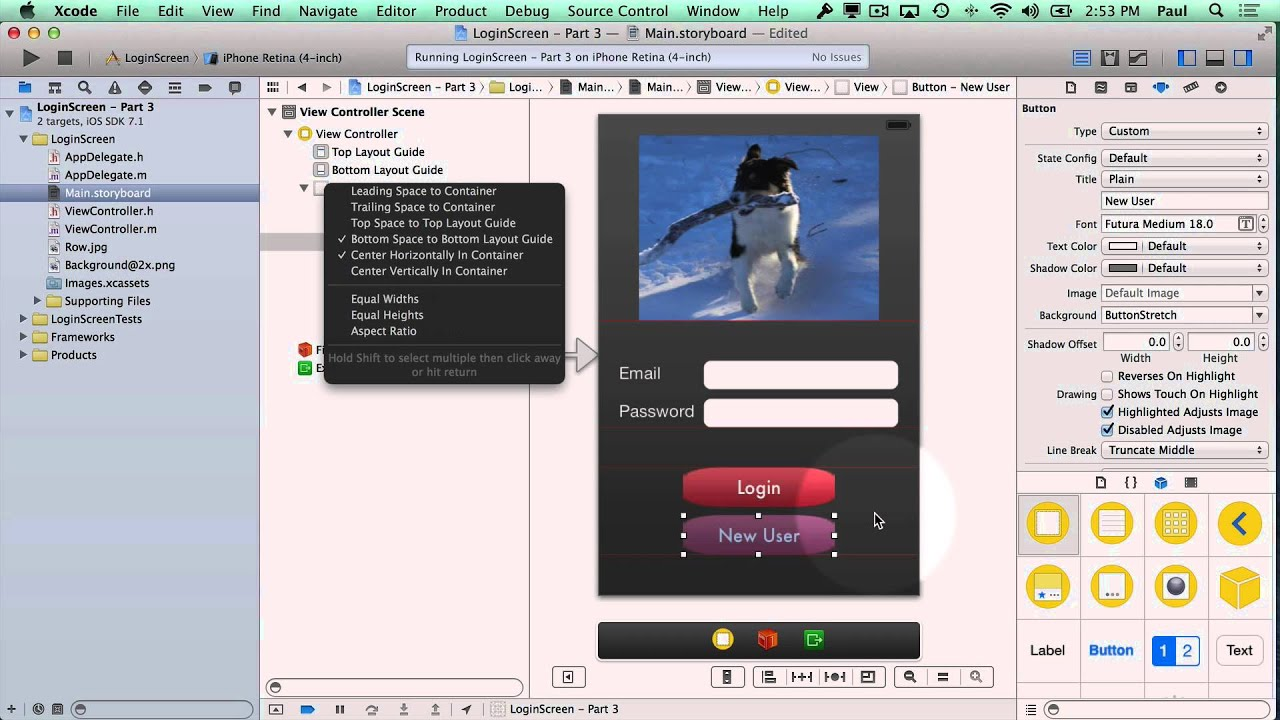 Background image xcode storyboard - Xcode 5 Login Viewcontroller Screen With Auto Layout And Layout Constraints Part 3 5