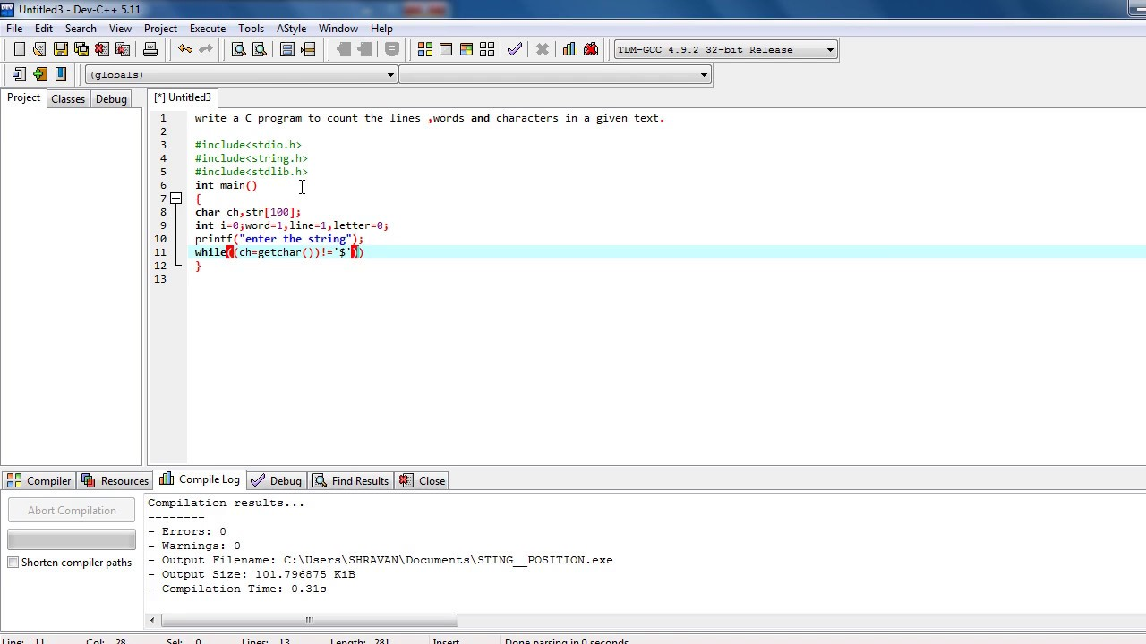 C Program To Find Word Line Letters Count As Per Engineeringdegree