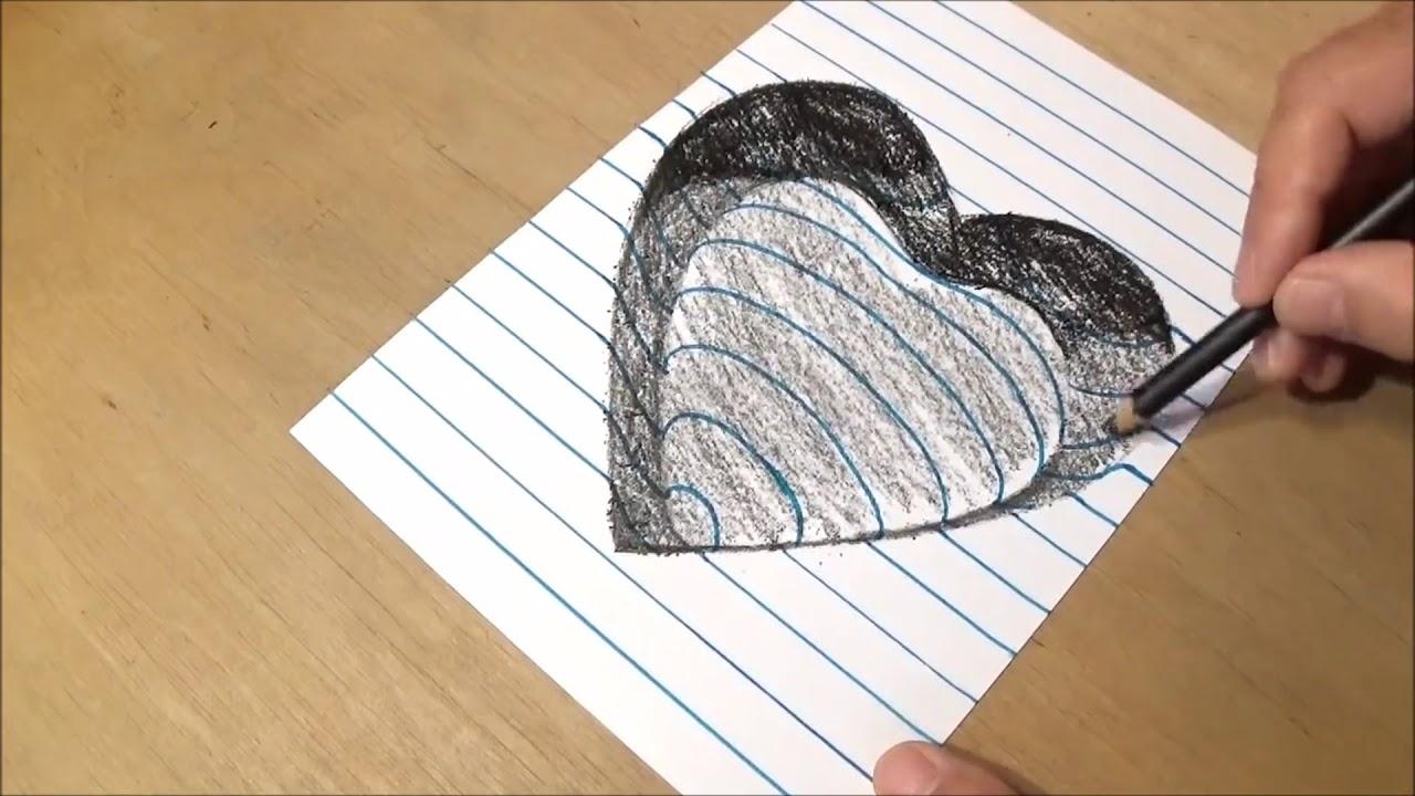 Tutorial membuat gambar 3d dengan pensil cara membuat gambar hati 3d