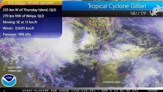 Tropical Cyclone Gillian threatens Queensland with heavy rains and gusty winds