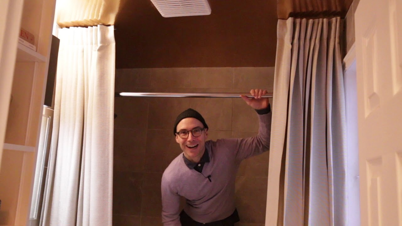 MY HOME OUR CITY Episode #3. Robert's bathroom redo with DIY storage, ceiling decor & fabric.