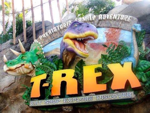 T rex restaurant disney springs youtube for Disney dining reservations t rex