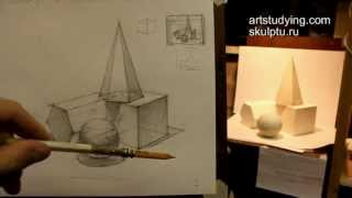 Обучение рисунку. Введение. 11 серия: натюрморт из геометрических тел(В этой серии цикла