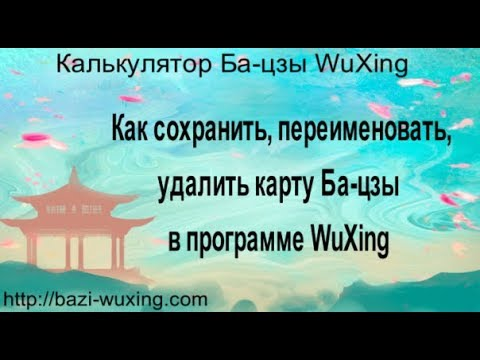 Руководство пользователя. Как сохранить, переименовать, удалить карту Ба-цзы в программе WuXing.