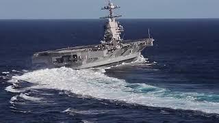 Видео скоростного маневрирования авианосца USS Gerald R  Ford CVN 78 в Атлантическом океане