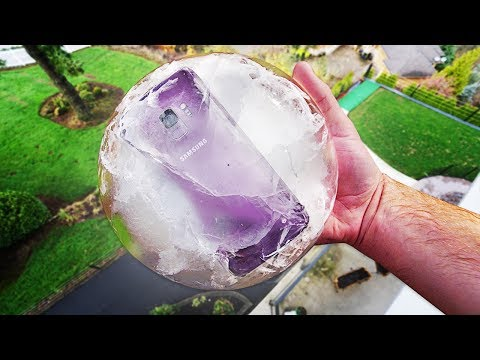 GALAXY S9 FROZEN IN ICE + DROP TEST!! Can It Survive?