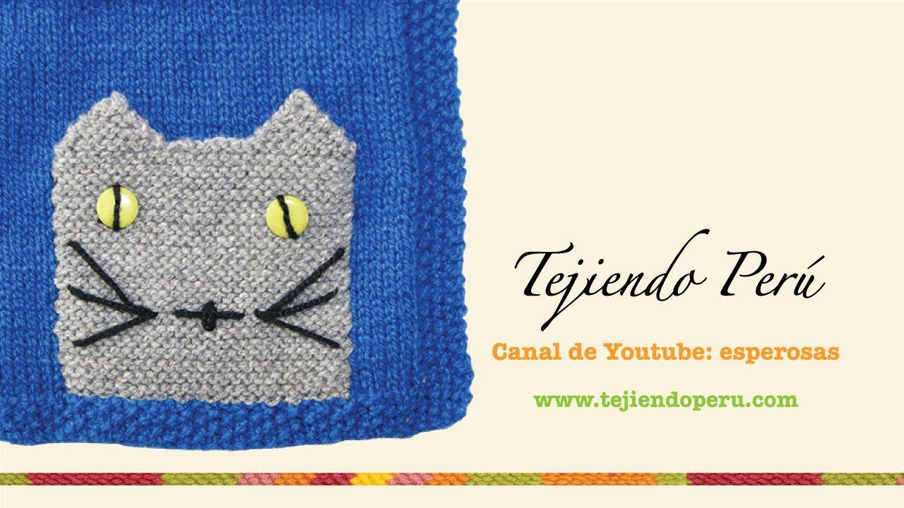Bolsillo de gatito tejido en dos agujas o palitos - YouTube