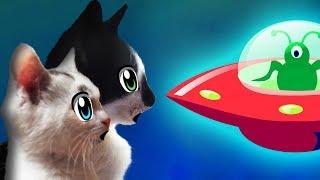 КОТ МАЛЫШ и СЕМЬЯ КОТОВ VS ПРИШЕЛЕЦ! КОТЫ ПРОТИВ НЛО! cats VS aliens! КОТЕНОК и Alien in the house