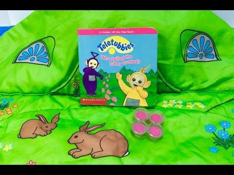 TELETUBBIES Who Spilled Tubby Custard Read Along Story Book!