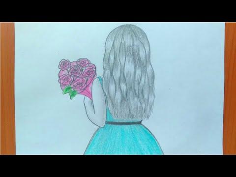 رسم بنات كيوت تعليم رسم بنت من الخلف بالرصاص للمبتدئين بطريقة