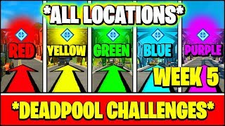 VISIT THE RED, YELLOW, GREEN, BLUE, and PURPLE STEEL BRIDGES ALL LOCATIONS (Fortnite DEADPOOL)
