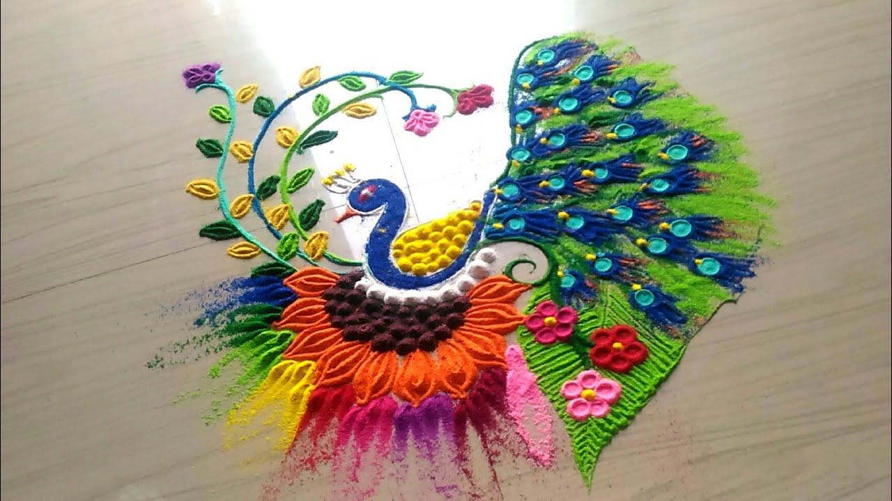 how to make peacock rangoli video