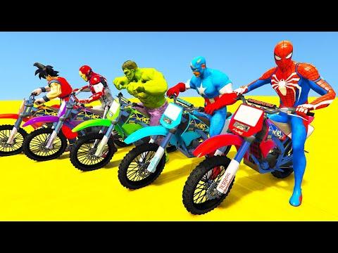 SPIDERMAN MOTORCYCLE Challenge over LAKE ! Superheroes MOTOS  HULK, IRON MAN Race - GTA V Mods  