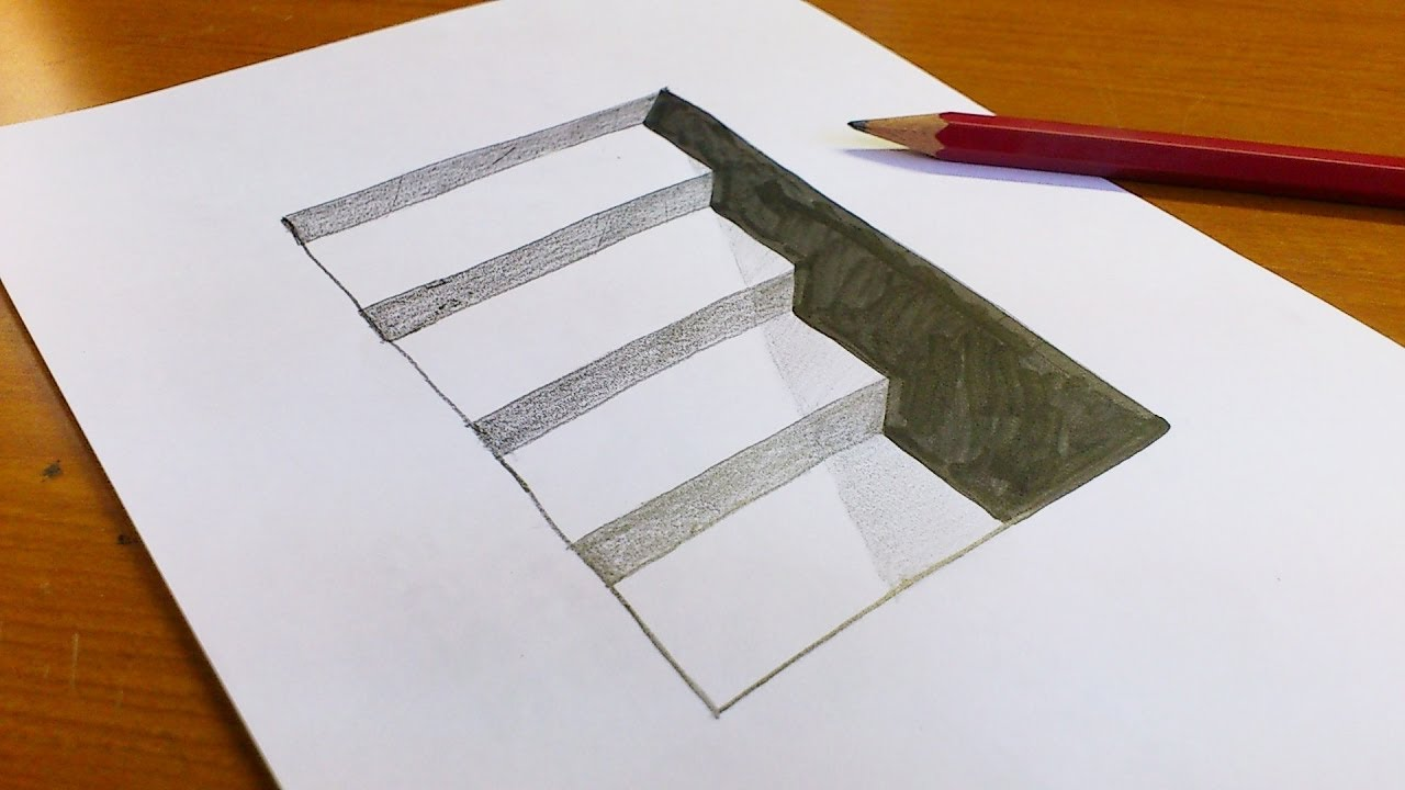 draw 3d easy illusion hole paper very stairs simple pk